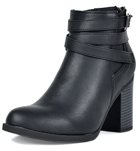 TOETOS Women's Chicago-03 Black Faux Leather Pu Chunky Heel Ankle Boots Size 7 M US (Black Friday Best Deals 2019)