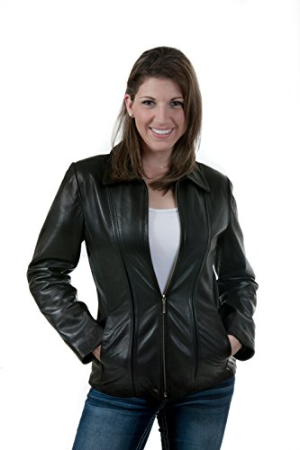 Lambskin Zip Front Jacket (Lee-Cobb Women's Leather Jacket Zip Front Biker by Black Color Size 12, 14)