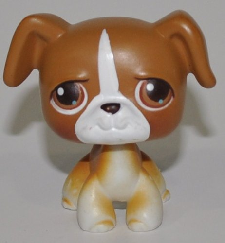 Littlest Pet Shop Boxer (Boxer #25 (Brown, White Accents, Brown Eyes) - Littlest Pet Shop (Retired) Collector Toy - LPS Collectible Replacement Single Figure - Loose (OOP Out of Package &)