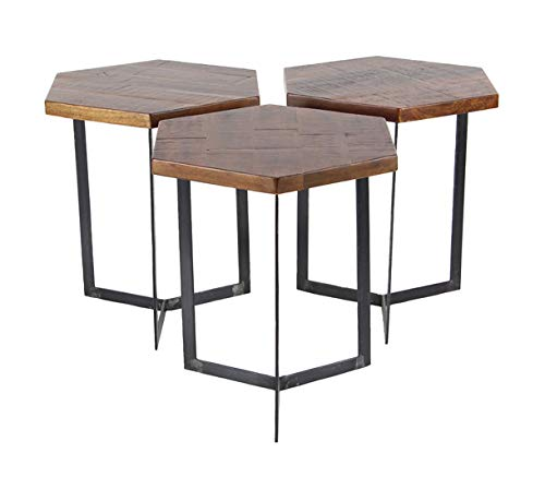Modern Décor Wood Coffee Table Set of 3 17