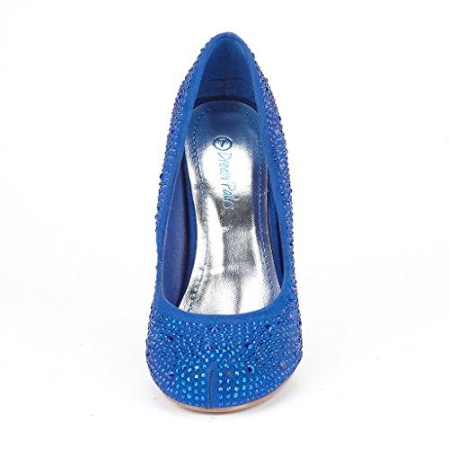 DREAM PAIRS S-ARPEL Women's Formal Evening Dance Rhinestones Classic Low Heel Pumps Shoes New