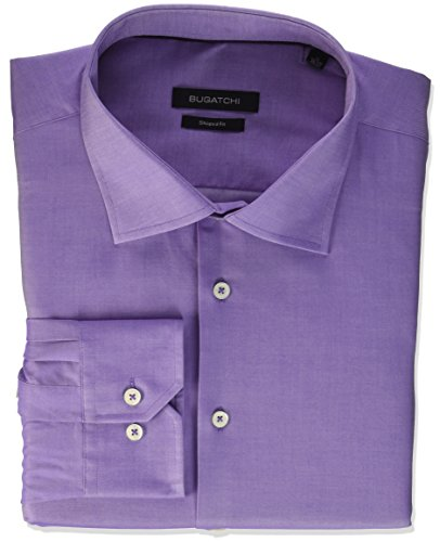 Bugatchi Men's Shaped Fit Printed Voile Texture Point Collar Dress Shirt, Orchid 16.5 - Printed Voile