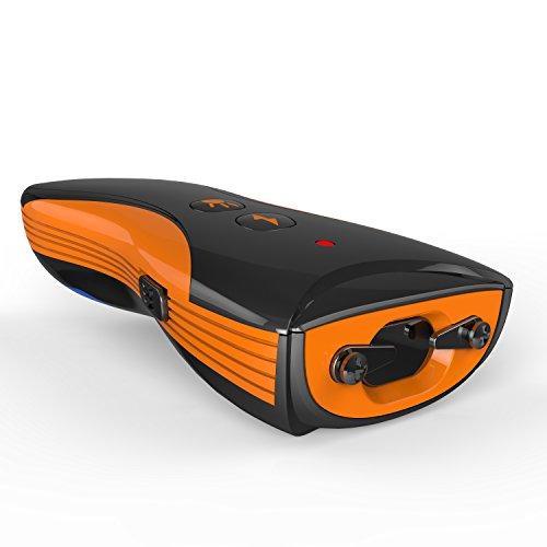 Mini Stun Gun 6500KV and Bright LED Torch with Rubber Handlebar (Black & Orange)