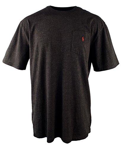 - Polo Ralph Lauren Mens' Big and Tall T-Shirt Jersey Crew Neck Pocket T-Shirt (2LT, Black Marl Heather)