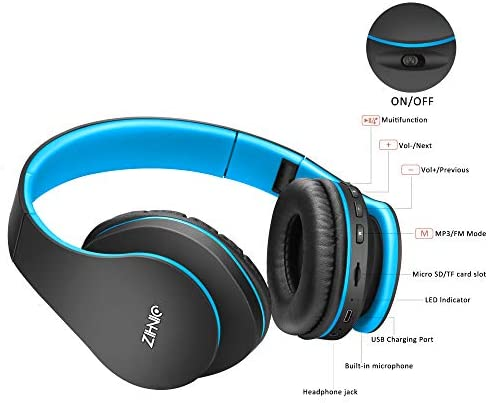 Wireless Over-Ear Headset With Deep Bass, Bluetooth And Wired Stereo Headphones Buit In Mic For Cell Phone, TV, PC,Soft Earmuffs &Light Weight For Prolonged Wearing By Zihnic (Black/Blue)