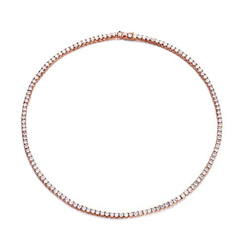 NYC Sterling Gold Plated Women's Magnificent 3mm Round Cubic Zirconia Tennis Necklace (Rose Gold, 16) (Gold Tennis Necklace)
