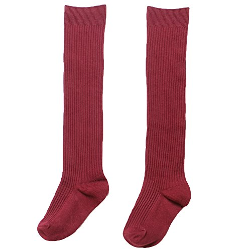 American Trends Girls School Uniform Stockings Cotton Cable-Knit Skirt Knee High Long Socks For Children Kids Outfits Wine Red S ( Age: 3-5yrs)