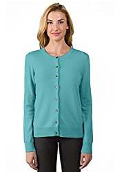 Jennie Liu Women S 100 Cashmere Button Front Long Sleeve Crewneck Cardigan Sweater M Aquamarine
