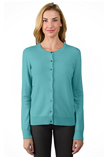 JENNIE LIU Women's 100% Cashmere Button Front Long Sleeve Crewneck Cardigan Sweater(S, Aquamarine)