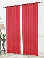 RT Designers Collection Cara Sheer Voile 54 x 84 in. Grommet Curtain Panel, Red