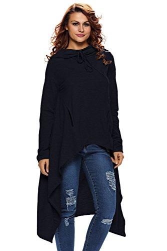 Nuofengkudu Women Loose Irregular Solid Tunics Sweatshirts Hoodies Blouse Top With (Beaded Georgette Skirt Set)