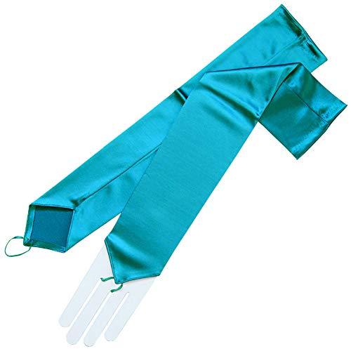 ZaZa Bridal Stretch Satin Fingerless Gloves Opera Length 16BL-Teal