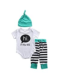 Baby Boys Girls hi I'M NEW HERE Short Sleeve Bodysuit and Pants Outfit with Hat