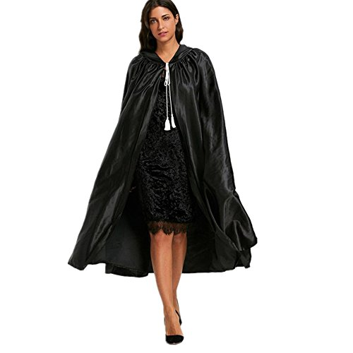 Start Hooded Cloak Coat Wicca Cape Shawl For Party & Halloween & Carnivals -Black2