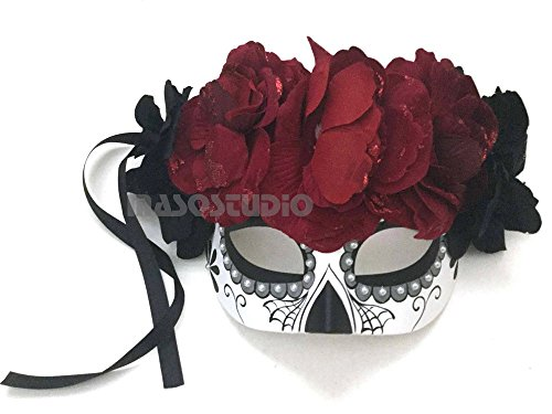 MasqStudio Beautiful Half Face Dia de Los Muertos Sugar Skull Masquerade Flower Mask Day of The Dead Wear or Deco