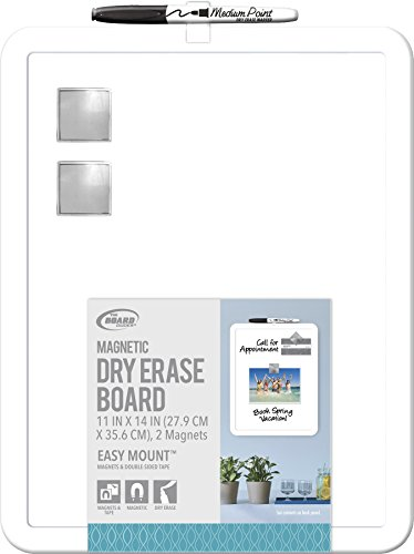 Board Dudes 11″ x 14″ Plastic Framed Magnetic Dry Erase Board Includes 1 Marker and Magnet (DDD49)
