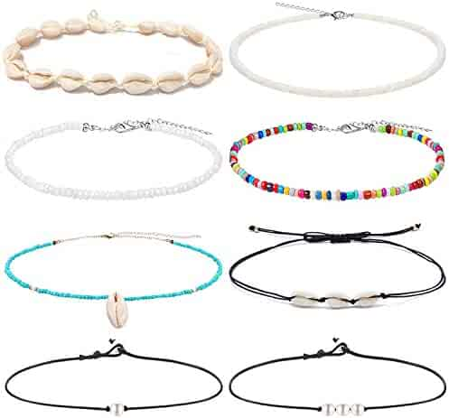 Anlsen 8PCS Shell Choker Necklaces for Women Girls Puka Shell Necklace Pearl Necklace Bohemian Beaded Necklaces Set Adjustable