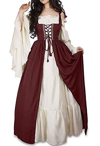 WENROU Womens Renaissance Medieval Irish Costume Over Dress and Cream Chemise Set (4XL, red)