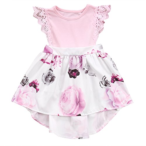 Big Sister Little Sister Floral Matching Clothing Lace Ruffle Sleeve Romper&Dress Outfit Family Clothing (3-4 Years, Dress(Big Sister)) - Matching Toddler Outfits