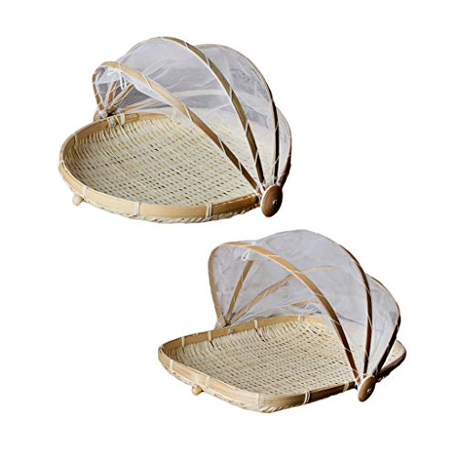 Homyl 2pcs Bamboo Food Holder Basket with Cover Prevent from Dust Storage Basket S