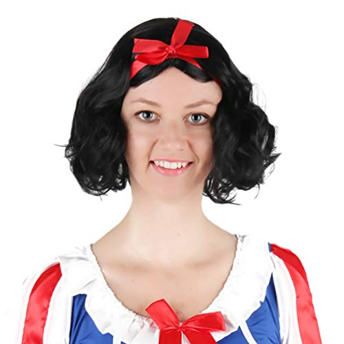 Cosplay Anime Wig, Snow White Princess and Seven Dwarfs Short Curly Wavy Hair Wig No Lace Fairytale Fancy Dress Princess Black Bob Women Adult Costume Wig Daily Party Halloween Carnival -