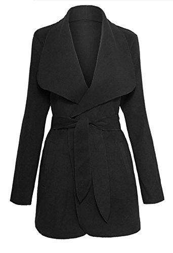 Calilogo Women's Shawl Collar Waterfall Belted Wrap Coat Jacket (Medium, Black)