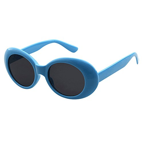 XILALU Retro Vintage Clout Goggles Rapper Oval Shades Grunge Rimmed Glasses UV400 Unisex Sunglasses (Blue Grey)