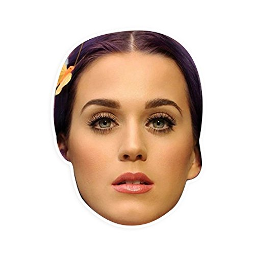 "[Confused Katy Perry Mask by RapMasks - 12"" x 9"" Waterproof Laminated] (Katy Perry Costumes For 10 Year Olds)"