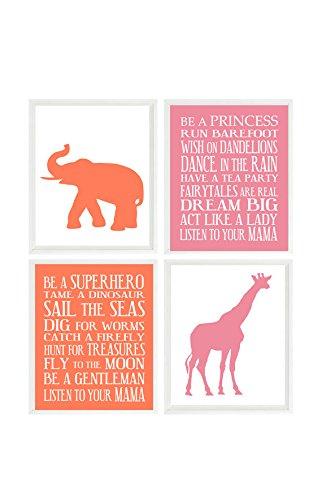 Twin Nursery Wall Art Elephant Prints Giraffe Art Boy Rules Print Girl  sc 1 st  Amazon.com & Amazon.com: Twin Nursery Wall Art Elephant Prints Giraffe Art Boy ...