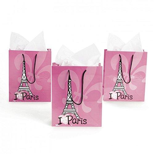 Pink I Love Paris Gift Bags - 12 ct