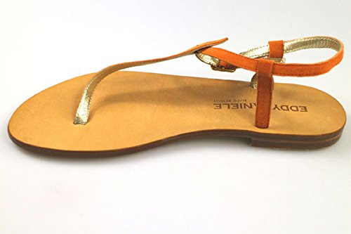 Sandalias as171 EDDY DANIELE Zapatos EU Gamuza 37 Mujer Naranja qnpUxw8TH1