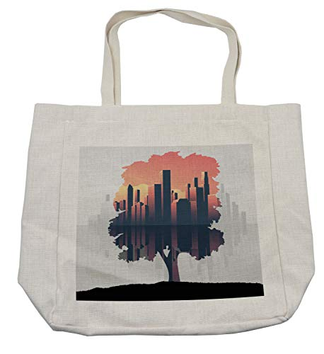 Lunarable Urban Shopping Bag, Double Exposure City Skyscrapers and Tree on the Grass Hill Graphic, Eco-Friendly Reusable Bag for Groceries Beach and More, 15.5