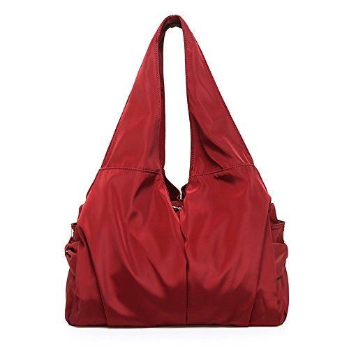 Women Shoulder Bag Handbag Tote Large Capacity Water-Resistant Shopper Nylon Multi Zipper Pockets (Wine Red) - Gathered Tote Bag