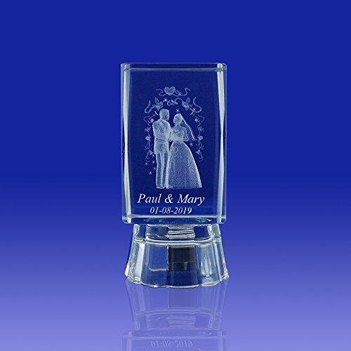 Wedding Ideas & Gifts Favors Personalized Custom Laser Etched Engraving 3D Wedding Crystal Cube Party Favors with Organza Bags/ Recuerdos Para Boda (2.5″H) (12 pieces)