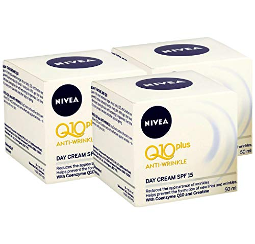 NIVEA Q10 Plus Anti-Wrinkle with SPF 15 Day Care Cream 50 ml (1.69 oz) - Pack of 3 ()