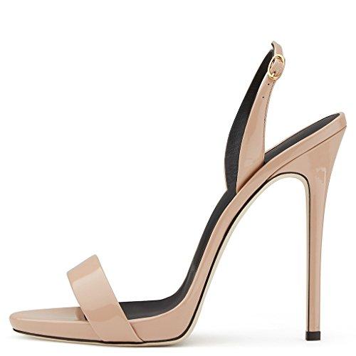 Amy Q - Zapatos con correa de tobillo mujer color carne