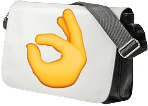"""Schultertasche """"Zeichen für alles in Ordnung"""" Schultasche, Sidebag, Handtasche, Sporttasche, Fitness, Rucksack, Emoji, Smiley"""