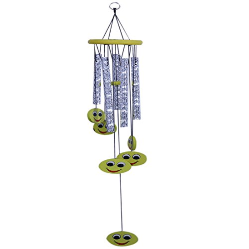 Ratnatraya Metallic Vastu Yellow Happiness Symbols 5 Pipe Silver Wind Chime For Balcony, Window and Positive Energy (Chimes Pipes For Wind)