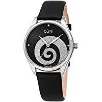 Burgi Women's Watch Diamond Markers – Sunray Dial with Sparkling Crystal Powder Swirl – Black Satin Over Genuine Leather Skinny Strap – BUR201SSBK