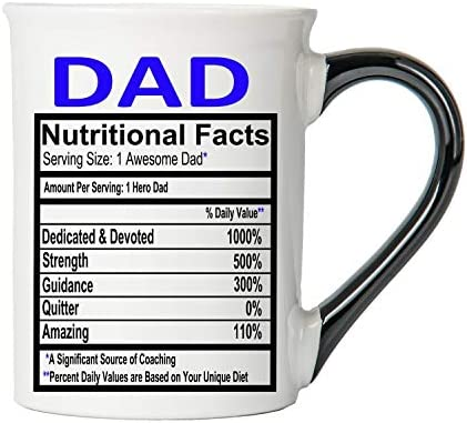 Cottage Creek Coffee Mug, Dad Coffee Mug, Large 18oz Ceramic Food Label Coffee Cup, Dad Mug [White]