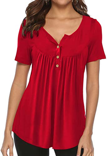Women Tops and Blouses Summer Shirts Short Sleeve Tunic Tops Fit and Flare Red S