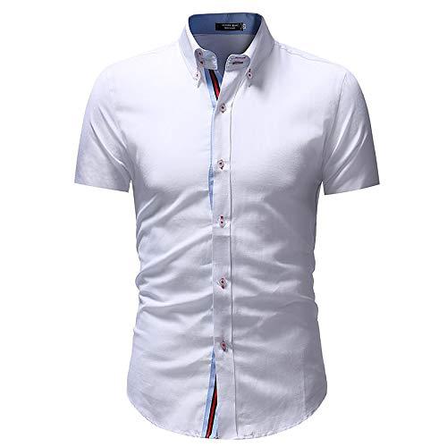 White XXL Men's Basic Shirt  color Block