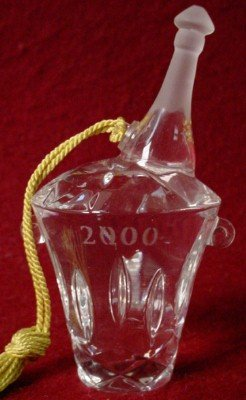 Gorham Crystal Champagne Bucket Christmas Ornament 2000