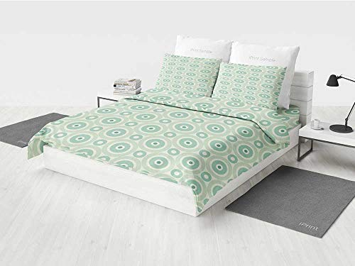 - Mint Girl Crib Bedding Sets Retro Disc Shaped Inner Circles with Nostalgic Featured Geometric Graphic Printing Four Pieces of Bedding Set Seafoam Almond Green