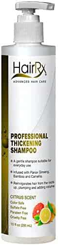 HairRx Professional Thickening Shampoo with Pump, Luxurious Lather, Citrus Scent, 10 Ounce