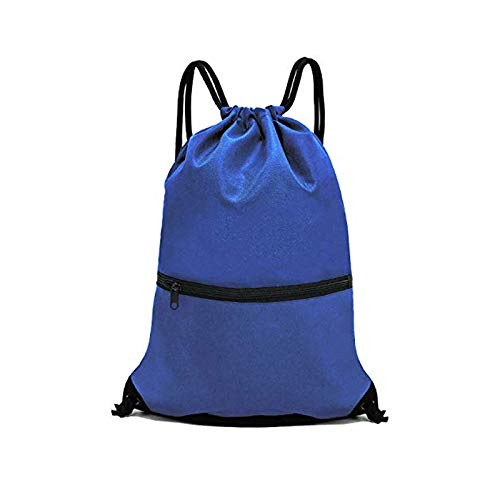 (CAIZHAO Waterproof Sport Drawstring Backpack with Zipper Pocket,Multi-Strand Sewing Adjustable According to User's Height)