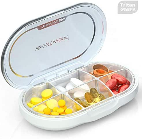 Kusuo Portable Pill Organizer, Pill Box Case with Moisture-Proof Design for Purse and Pockets, Well Packaged Pill Case to Hold Vitamins, Fish Oil, Supplements and Medication - Ivory White