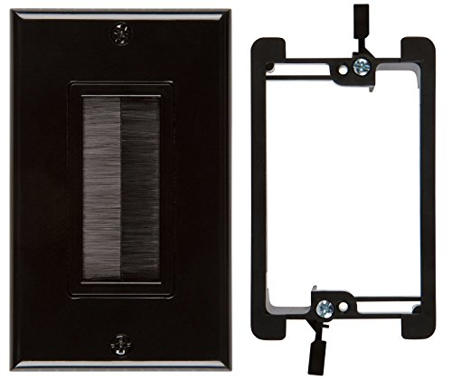 Buyer's Point Brush Wall Plate, with Single Gang Low Voltage Mounting Bracket Device (Black Kit) (Plate Wall Terminal Hdmi)