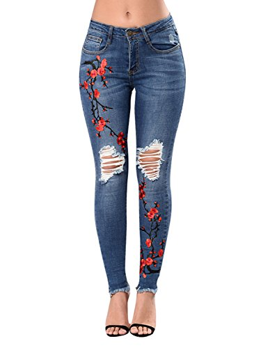 PERSUN Women's High Waist Rose Embroidered Ripped Denim Skinny Jeans With (Embroidered Plus Size Jeans)
