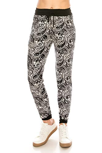 ALWAYS Women Drawstrings Jogger Sweatpants - Skinny Fit Premium Soft Stretch Pockets Track Pants Paisley